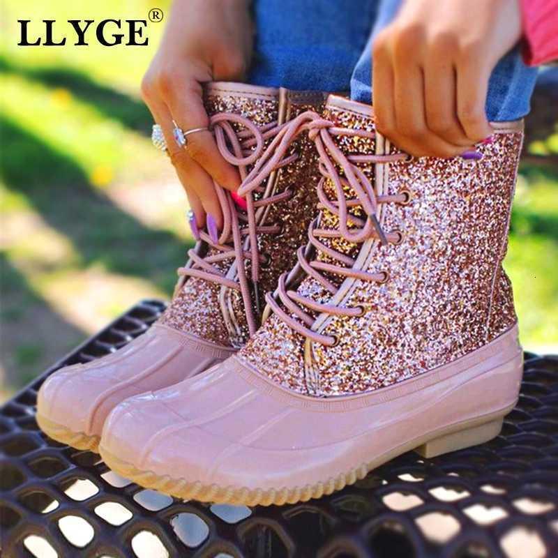 Kadın Su geçirmez Glitter Leopar Yağmur Botları Kadın Bling Lace Up Artı boyutu Ayak bileği Boot Düşük Topuk Platform Moda Ayakkabılar Bayanlar