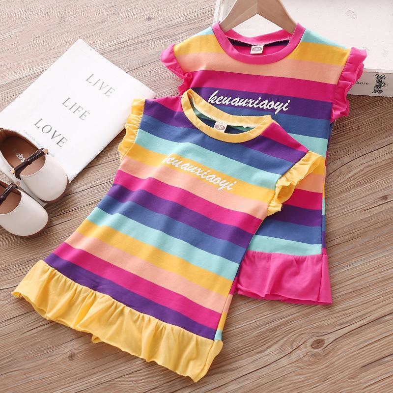 2020 del vestido del verano nuevas muchachas niños de la moda Color de rayas pequeña mosca de la manga vestido de los niños vestido lindo