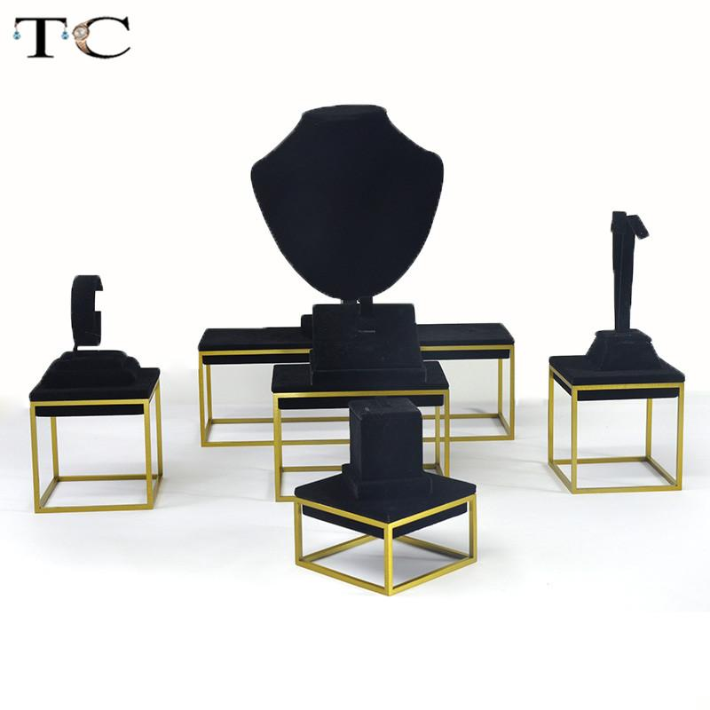 High-end Black Velvet Stainless Steel Jewelry Display Ring Earrings Necklace Pendant Bracelet Showcase Jewelry Stand Holder Storage