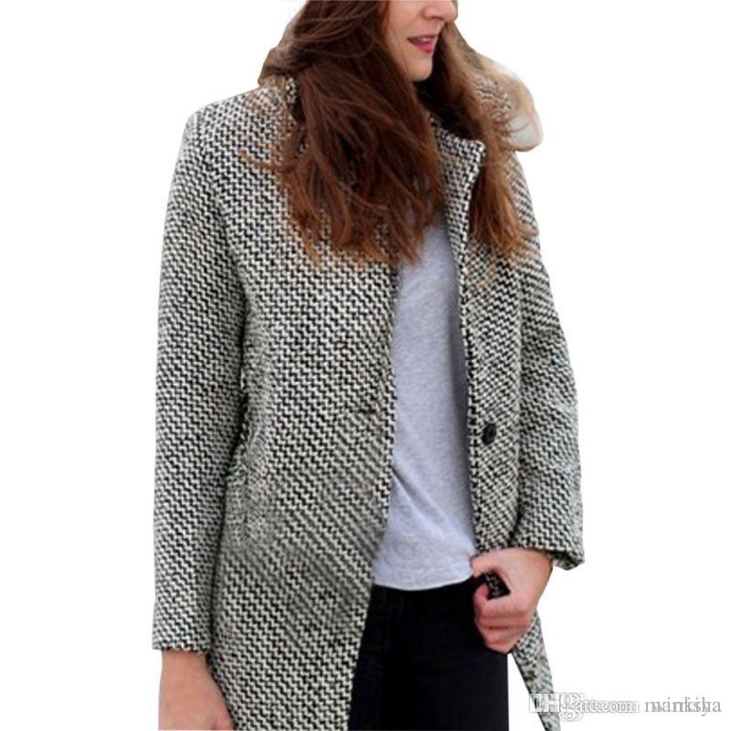 Women Winter Warm Ladies Overcoat Trench Outwear Long Wool Cashmere Coat Jacket