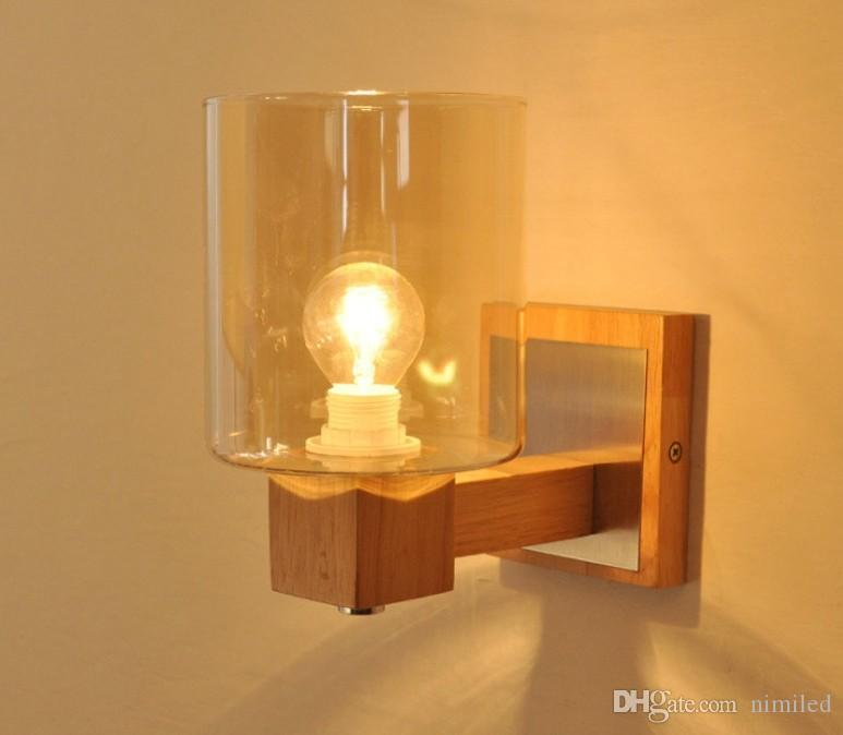 2021 Retro Led Wooden Wall Lamp Glass Shade Bedroom Beside Wall Light Simple Wall Sconce Lights For Home Loft Living Room Decoration Llfa From Nimiled 66 07 Dhgate Com
