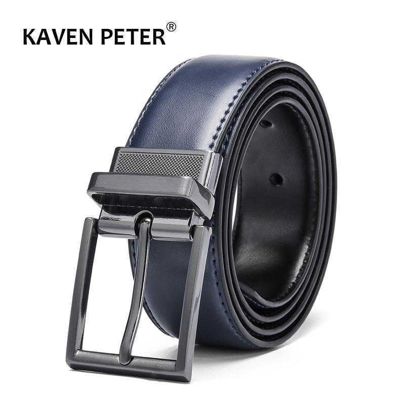 Vaca Reversible Belts Couro dos homens homens de luxo de couro Cinto Gun Metal Alloy Fivela Casual Strap Male Blue Black T200615