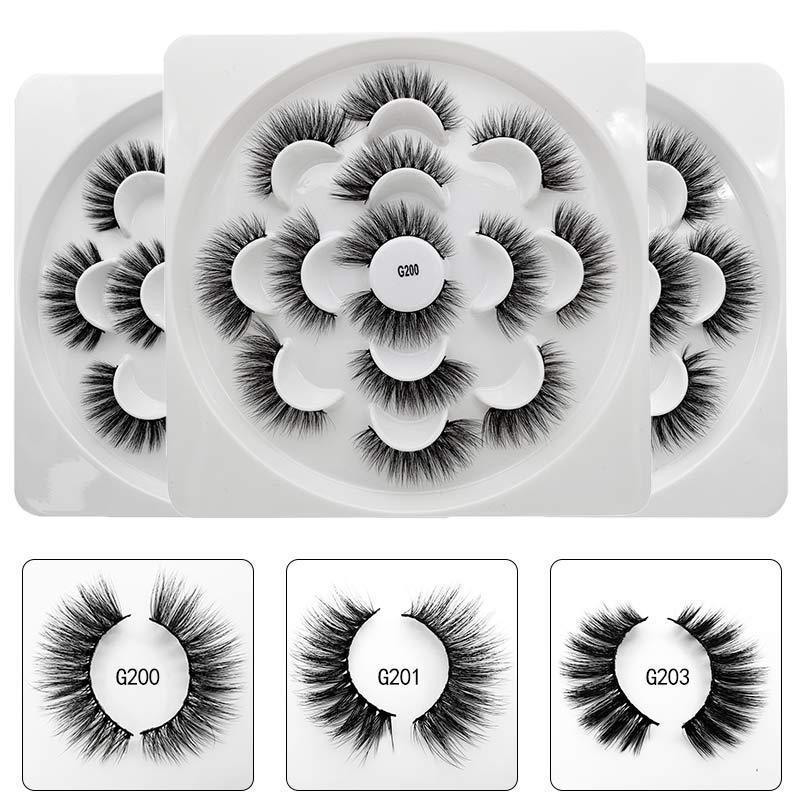 3D Vizon Saç Lotus Kirpikleri El yapımı Kanatlı Tam Şerit Kirpikler 7 Çiftler / Paketi Göz Makyajı Yanlış Göz Kirpik Ücretsiz Kargo