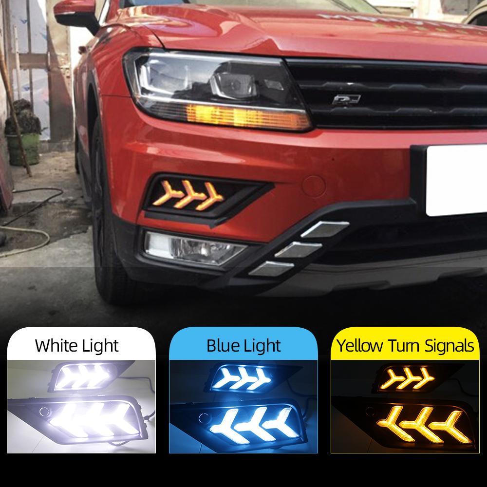 2PCS السيارات LED النهار الجري الخفيف لفولكس واجن فولكس فاجن تيجوان 2017 2018 2019 DRL مع مصباح أصفر إشارة الضباب