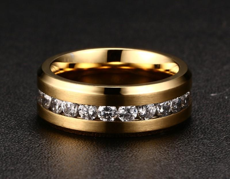 Wholesale Lots 30Pcs Gold CZ Inlay Stainless Steel Ring Cocktail Sexy Men Women Wedding Engagement Party Valentine Gift FREE