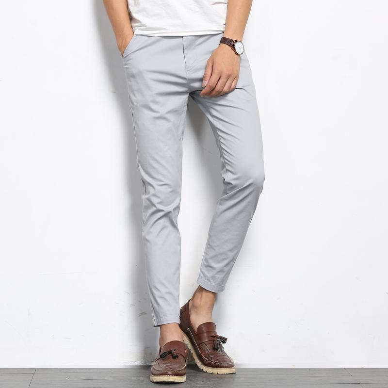 BROWON Automne Hommes Fashions couleur solides Pantalons simple Hommes droite légère élastique cheville longueur de haute qualité Pantalons Hommes CJ191115