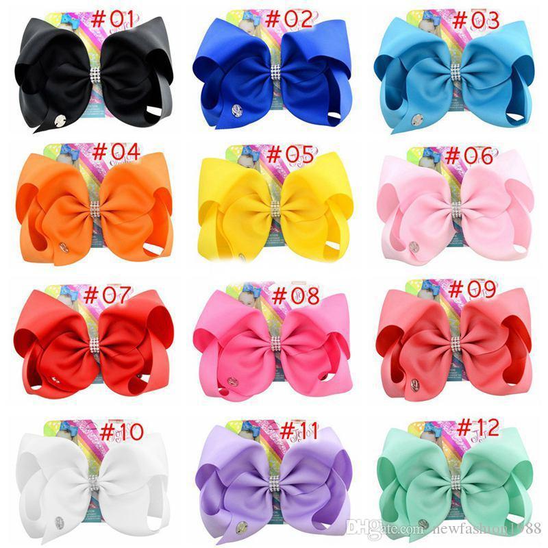 8 İnç Joyo Siwa Saç Bow Katı Renk Klipleri Papercard Metal Logo Kızlar Dev Gökkuşağı Rhinestone Saç Aksesuarları Firkete hairband INS ile