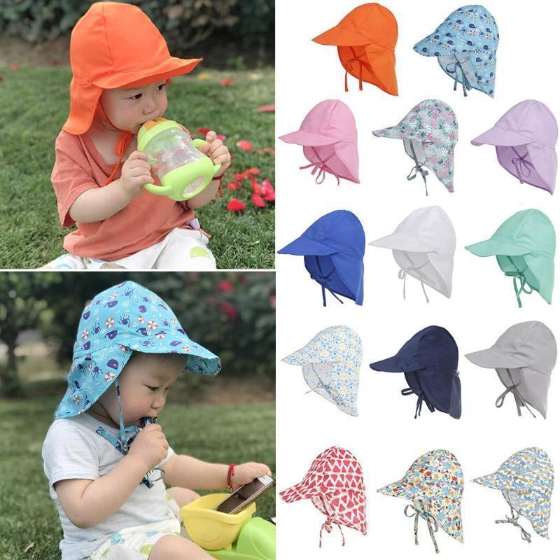 Faktor 50+ UVschutzsun Kappen Breathable Baby-Kind-Jungen-Mädchen-Unisex-Wannen-Hüte Sommer Newborn Sunbonnet Hüte Bebe Sonnenhut Caps wXIUj