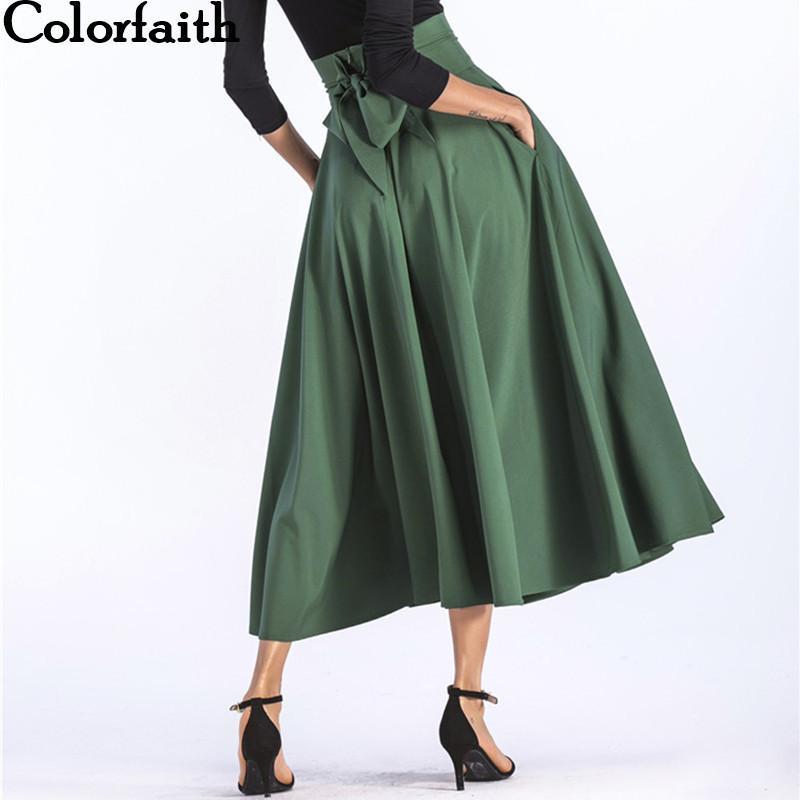 Colorfaith 2019 Женщины Slit Long Макси Рок Урожай Женская Мода Plissee Открытая Сумка Пополнить Лист Плюс Размер 4xl Rock Sk8831 Y19071601
