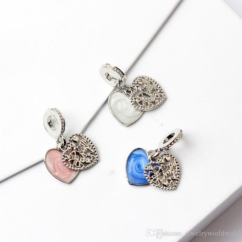 4 Farbe Legierung Charme Perle Zwei Herz Baumeln Mode Frauen Schmuck Atemberaubende Europäischen Stil Für Pandora Armband