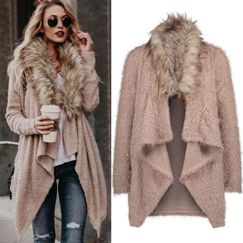 Women Long Open Cardigan Casual Faux Fur Collar Coat Female 2018 Autumn Winter Elegant Fashion Loose Soft Outwear Jacket Outwear