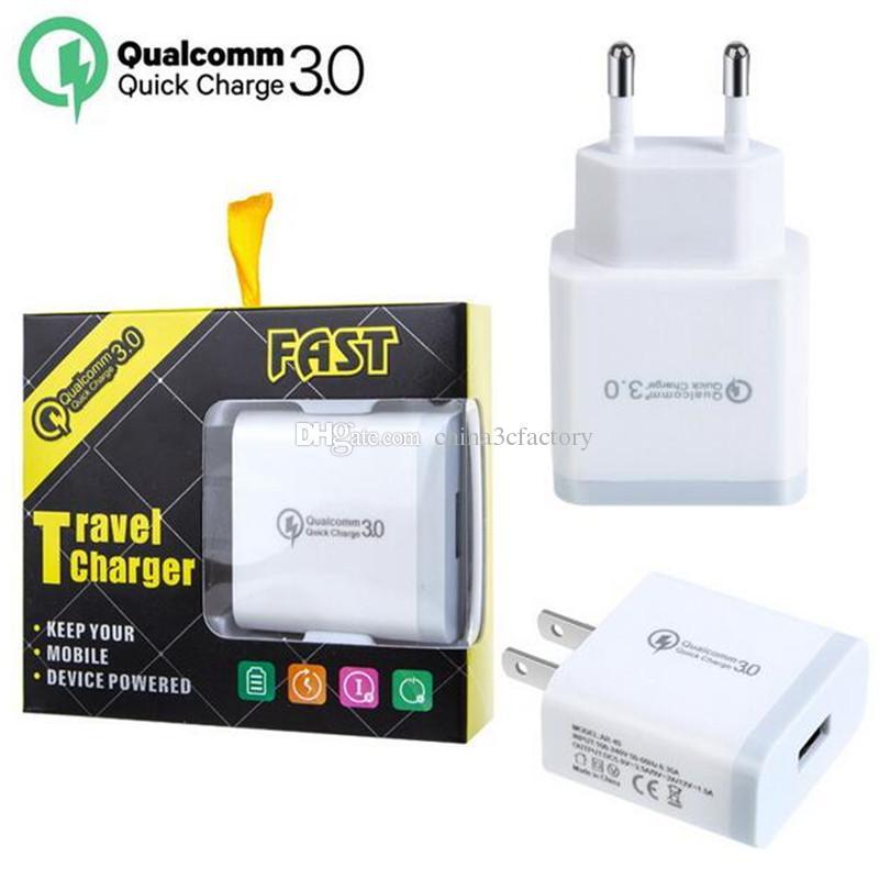 QC 3.0 быстрое зарядное устройство USB быстрая зарядка 5V 3A 9V 2A адаптер питания для путешествий быстрая зарядка US EU Plug для iPhone 7 8 X Samsung Huawei Phone
