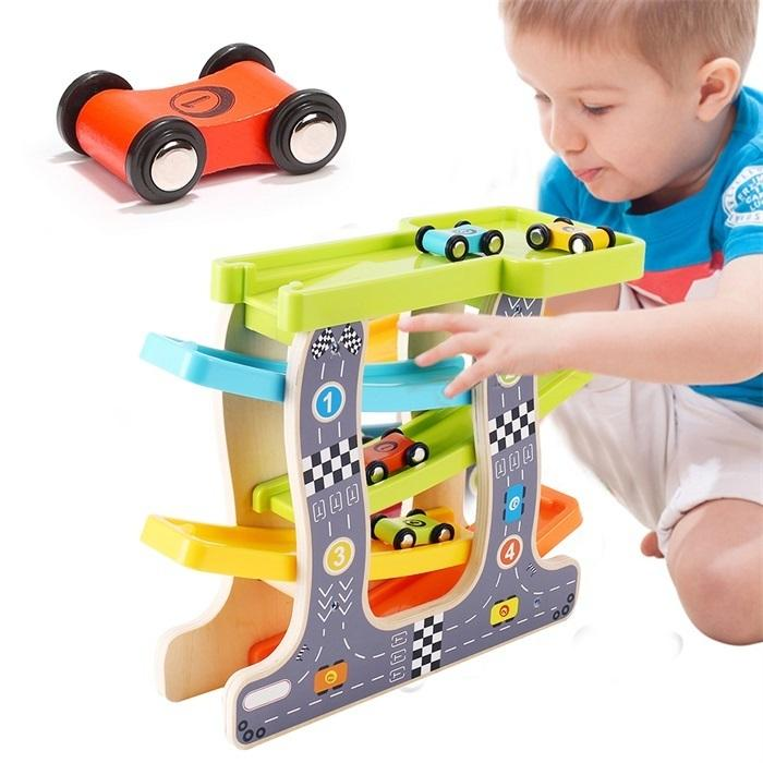Baby Kids Slot Track Car Toys Wooden Ladder Gliding Wooden Slot Track Educational Model To Slide For Children Boy Gifts Spare J190525
