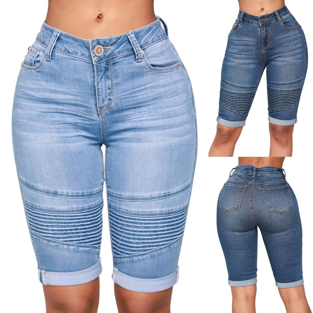 New Clothes 2019 Women Mid Rise Elastic Zip Skinny Denim Knee Length Curvy Stretch Shorts Jeans Drop Shipping