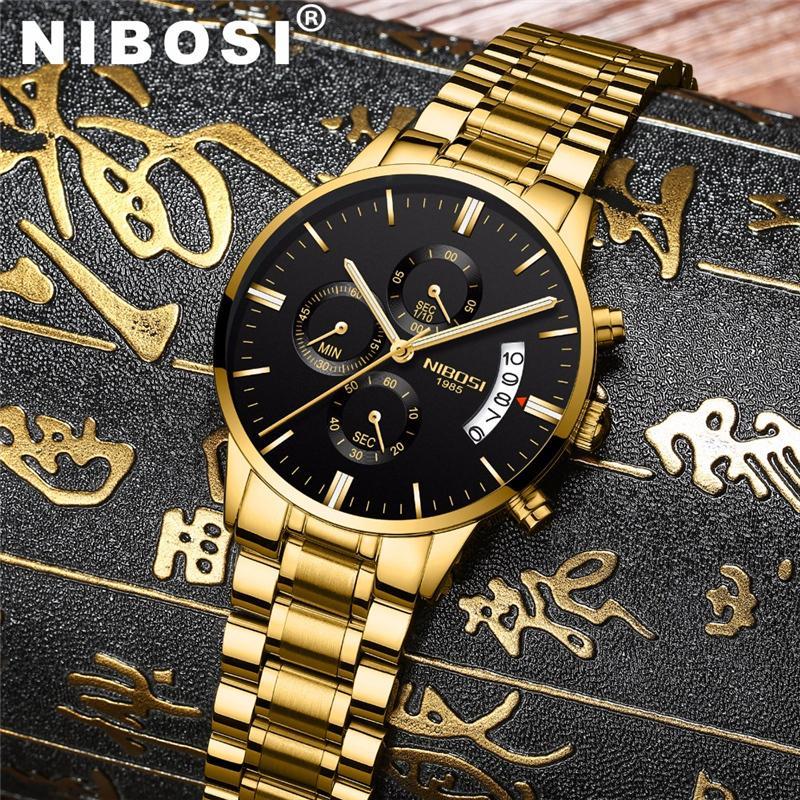 NIBOSI Wasserdicht Geschäft Uhren Männer Luxus-Marken-Quarz-Militär-Uhr-Leder Stahlmann Armbanduhr relogio masculino V191115