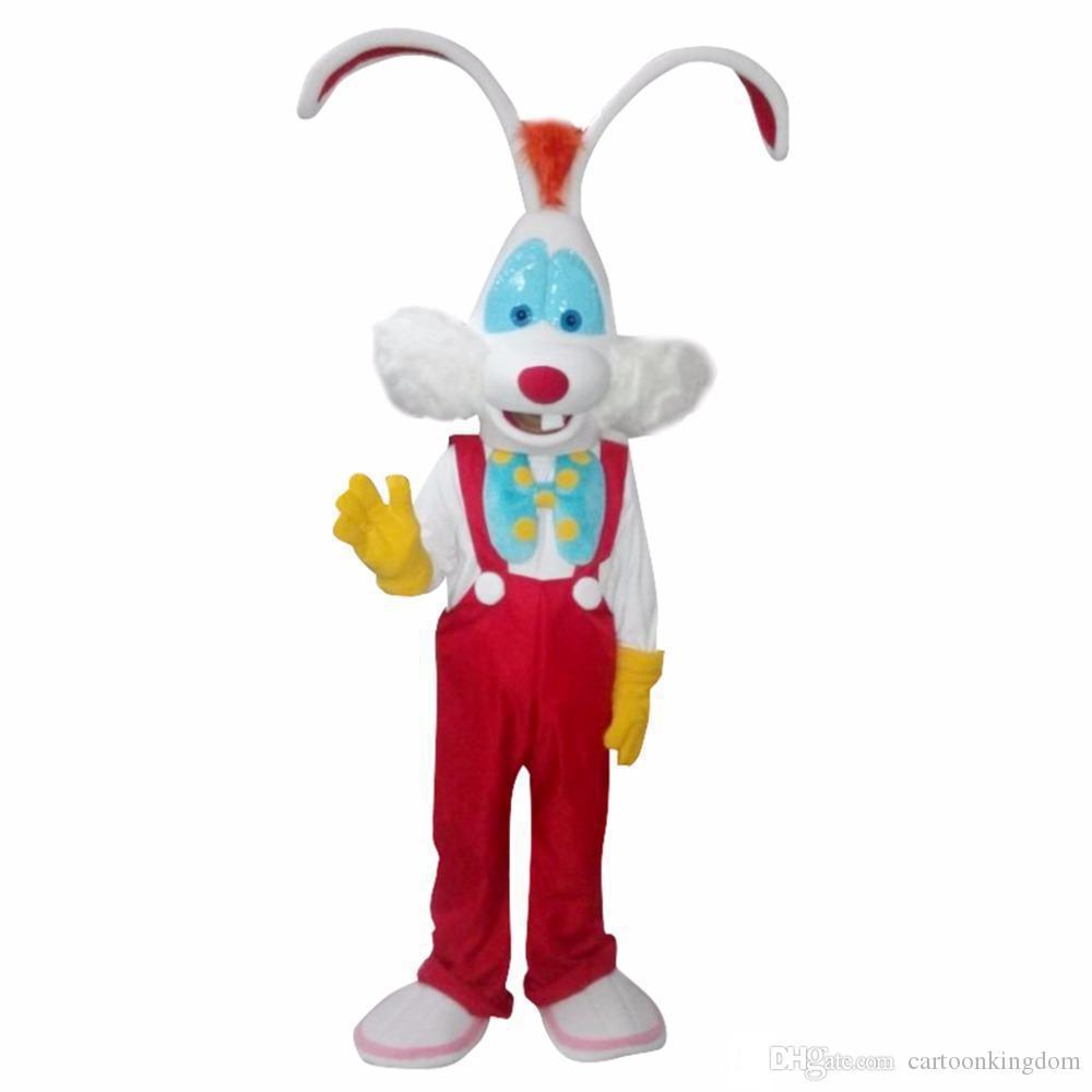 Yeni Fabrika satış sıcak Custom Made CosplayDiy Unisex Maskot Kostüm Roger Tavşan Maskot Kostüm