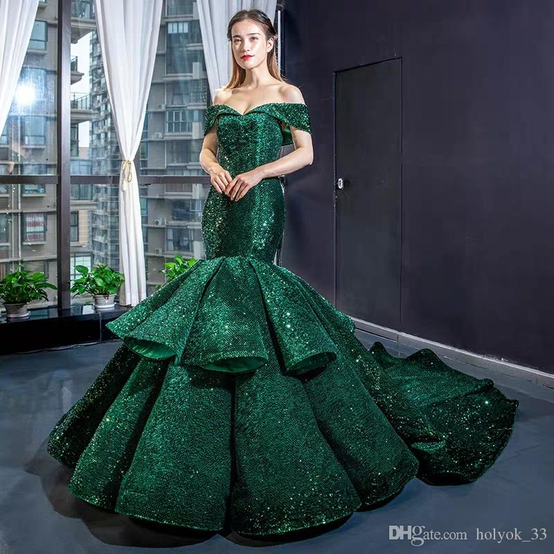 Latest Design Green Mermaid Sexy Pageant Prom Dresses Off Shoulder Sequined Runway Fashion 2019 Real Picture robe de soiree Abendkleid