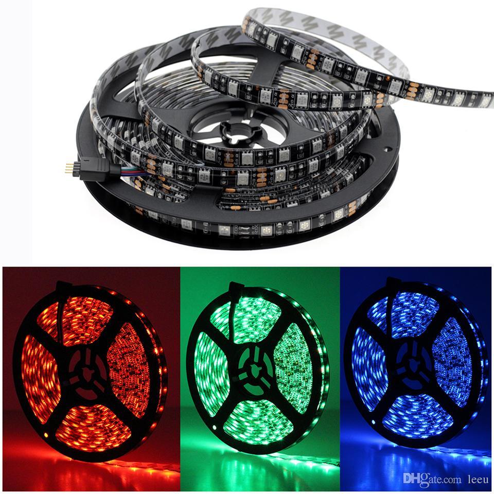 Siyah PCB LED Şerit 5050 DC12V Hayır Suya Dayanıklı / Suya Dayanıklı 60LED / m RGB / Beyaz / Sıcak Beyaz Esnek LED Işık Şeritleri