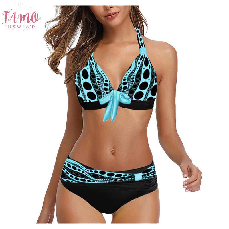 Womens Piscina poliéster Suit Mulheres Plus Size Imprimir Tankini Swimjupmsuit Swimsuit Beachwear acolchoado Swimwear Mulheres Tankini Q