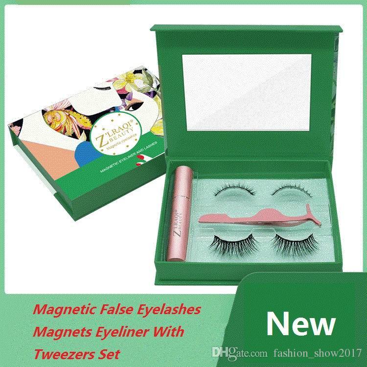 2 paires magnétiques Faux Cils avec 5 aimants Eyeliner naturel longs cils recourbe-cils Cils pour kit de maquillage Extension