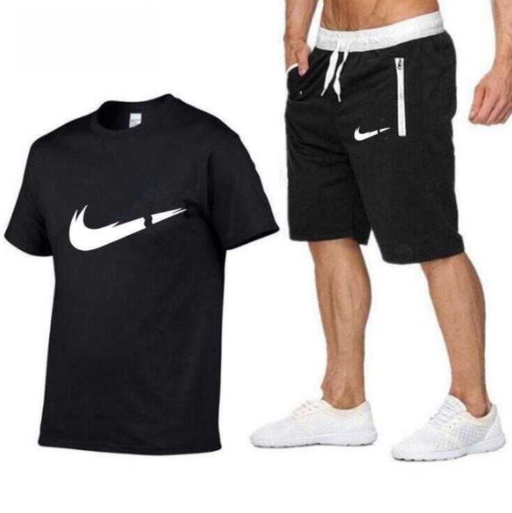 Neue Sommerfrauen der Männer Trainingsanzüge Kurzarm-T-Shirt + kurze Hosen lässige Sportswear 2 Stück Sportanzüge Jogginganzug Lauf