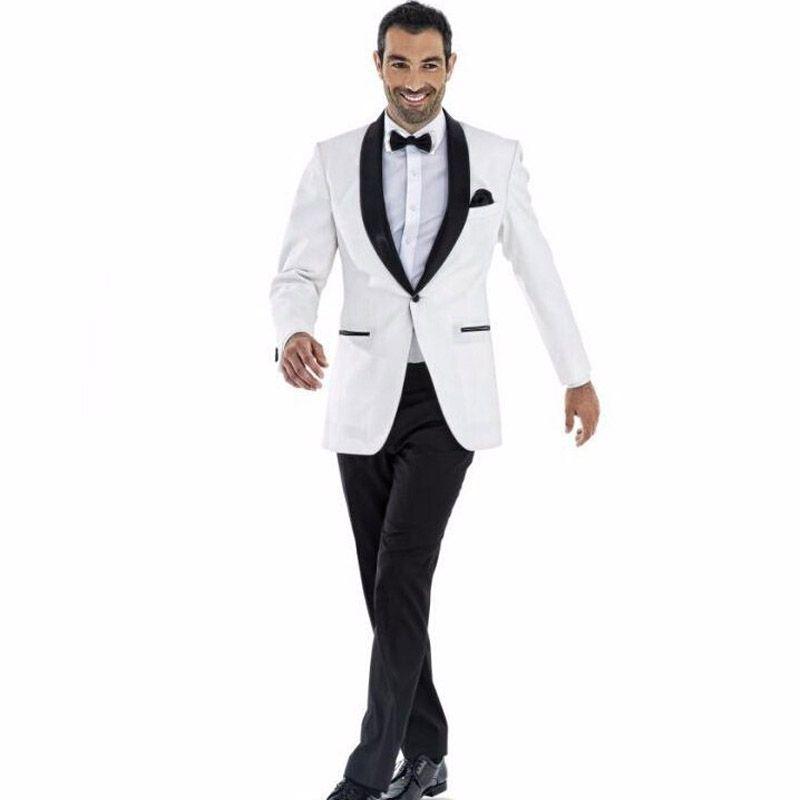 White 2 Stück Bräutigam Smoking mit schwarzem Schal Revers Männer Hochzeit Bräutigam Anzüge Groomsmen Klage italienischer Designer Wedding Smoking für Mann