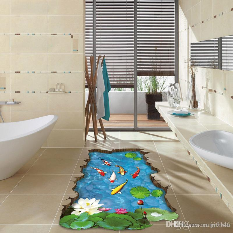 Colorful Fish Pool 3d Floor Stickers Diy Broken Wall Mural
