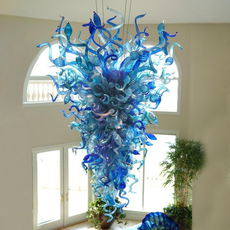 Blue Crystal Chandelier Lighting for Living Room Decor Hotel Pendant Light Hand Blown Glass LED Chain Pendant Lighting for House Decoration