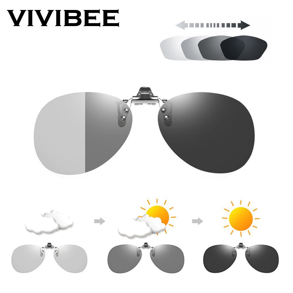 Klappbare polarisierte Sonnenbrille im Aviation-Stil für Damen, die photochrome polarisierende Sonnenbrillen fahren Übergroße Clips für Herren