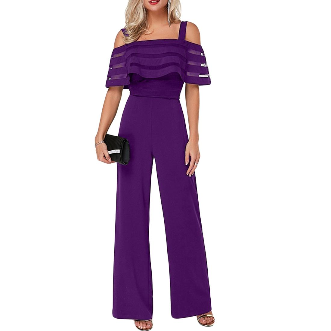 Sexy Women Jumpsuit Off Shoulder Plus Size Summer Romper Wide Leg Trousers Womens Casual Clubwear Outfits Blue OL Mesh Overalls T200107