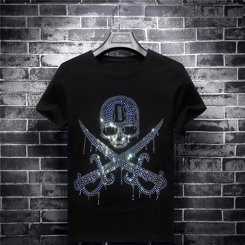 Yenilikçi Kafatası Kılıç Gömlek Moda Kristal Top Kentsel Avrupa Tarzı Gömlek Man Günlük Sade Gömlek Hip Hop Kaykay Giyim