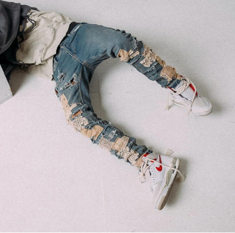 Mavi Renk yeni erkek yeni Skinny Jeans Tahrip stok En sürüm hip hop erkeklerde 2020ss