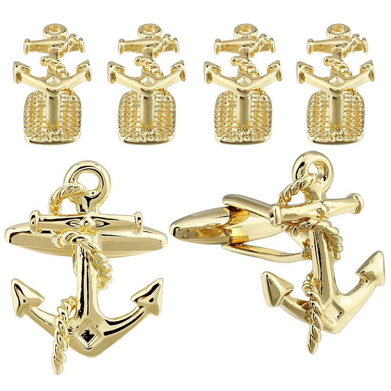 Anchor Cuff Links&Studs Set for Tuxedo Shirt Gold Color Plated Metal Cuff Links Exquisite Wedding Jewelry