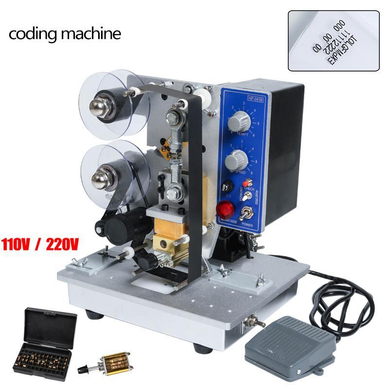 Frete grátis HP-241B Semi Stamp automática Hot fita Máquina de Codificação Data Character Código Hot fita para impressora Data Coding Máquina de impressão