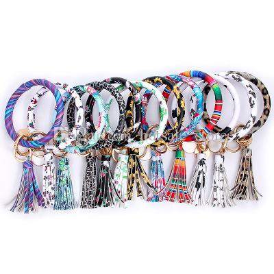 Dhgate Prix le plus bas Tassel Bracelets Tournesol Leopard PU bracelets Porte-clés Porte-clés Disque Bracelets pour bourse