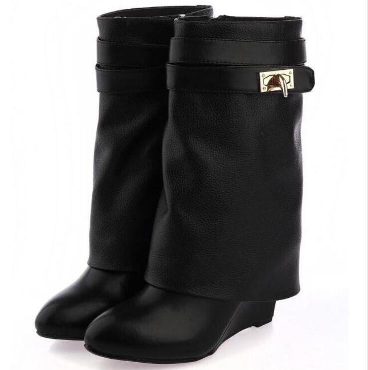 diseñador de zapatos de piel de ante-Slip en botines mujer Botines punta estrecha aumento alto altura de las cuñas mujer baja Botas