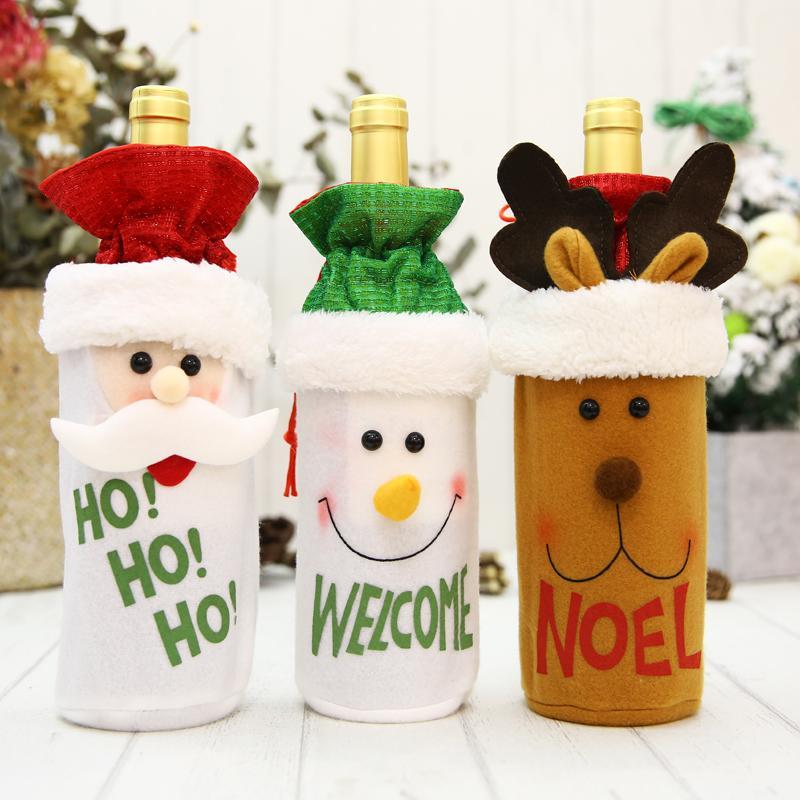 Neue Weihnachtsdekoration Flaschentasche Sankt-roten Hut Schneemann Weinflasche gesetzt Bar Restaurant Dekoration