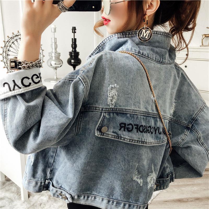 Осень 2019 новая джинсовая куртка короткая женская рабочая одежда корейский свободный BF ретро порт мода топ студент T200408