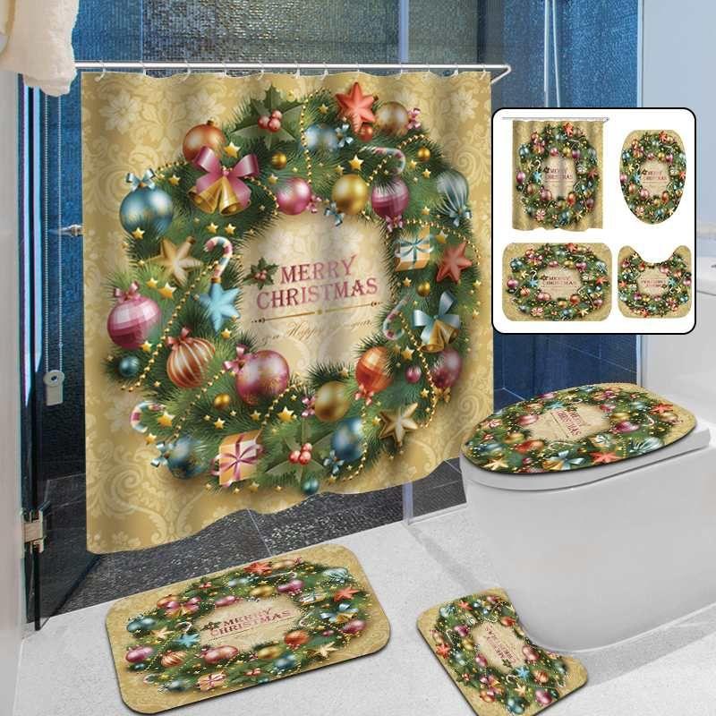 Bath Mats bagno Carpet Natale Garland Anti Slip igienici modello flanella Toilet Seat Cover impermeabile Tende da doccia Set