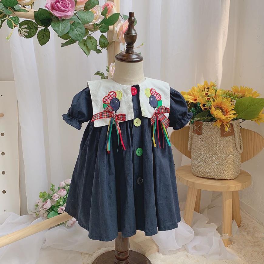 2шт Baby Girl лето с коротким рукавом темно-синий воздушный шар вышивка старинные платья принцессы для девочек хлопчатобумажное платье Vestidos
