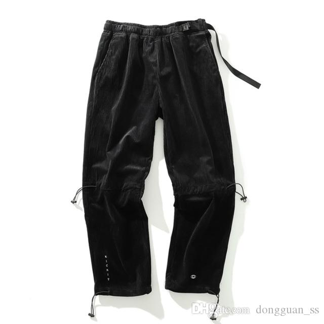 Lettrage Pantalon brodé Jogger cheville longueur tactique Pantalon en velours côtelé de