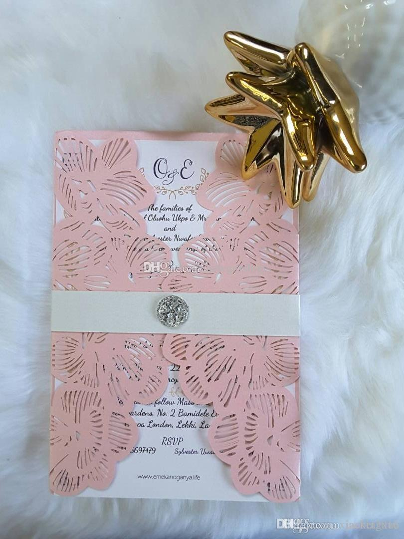 Blush Shimmy Laser Cut Diamond Petal Wedding Invites With Belly Belt 2019 Wedding Party Invitations Free Printing Wedding Invitation Cards Samples