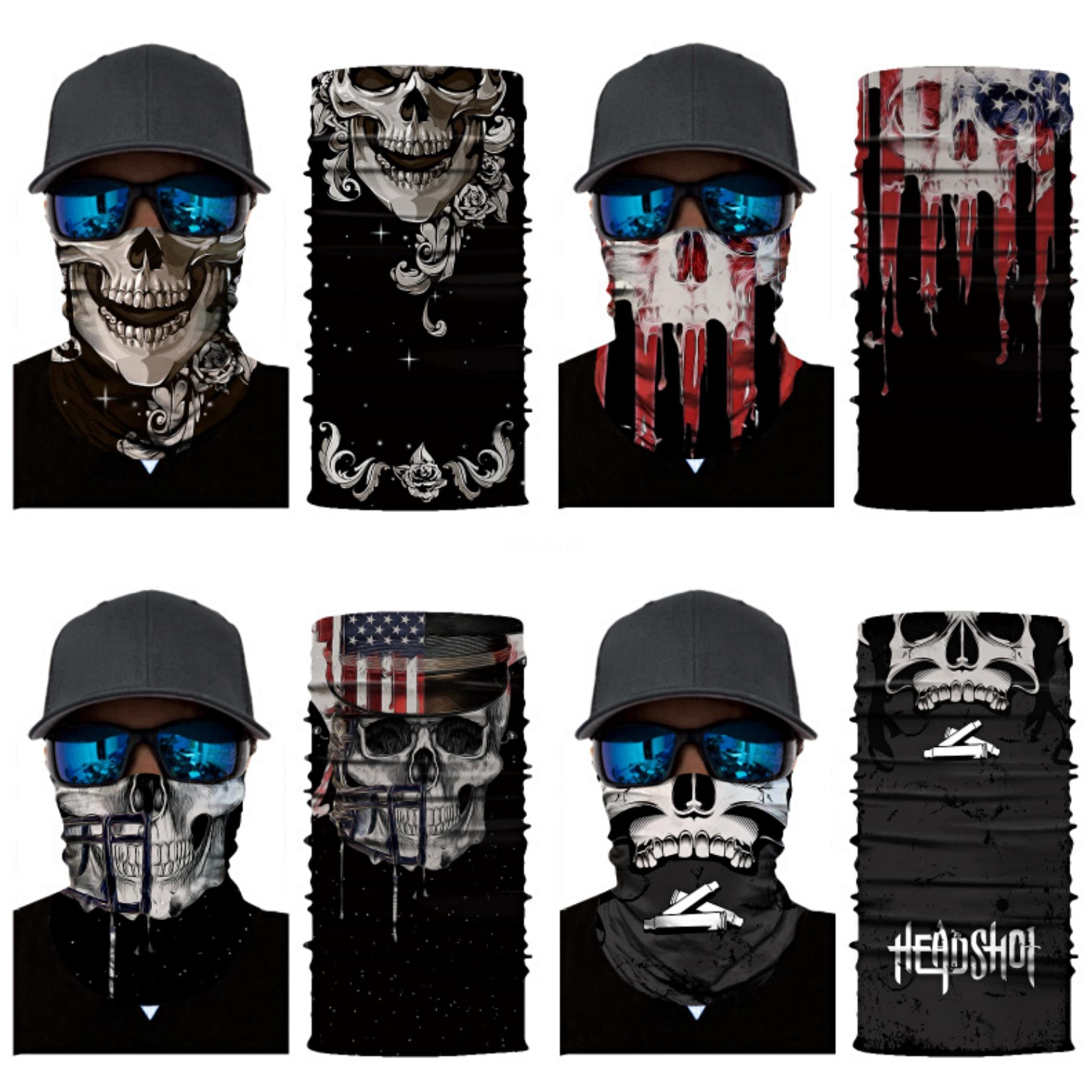 Outdoor Skull Foulard Masque Variété Turban magique Echarpes Visage Mesh Bandeau Crâne Bandanas Mode multifonctionnel Cyclisme Ba # 188 # 762