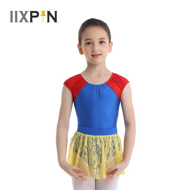 iixpin Kids Girls 2 Piece Ballet Dance Outfit Floral Lace Sports Workout Gymnastic Leotard Long Sleeves Tops with Bottoms Set