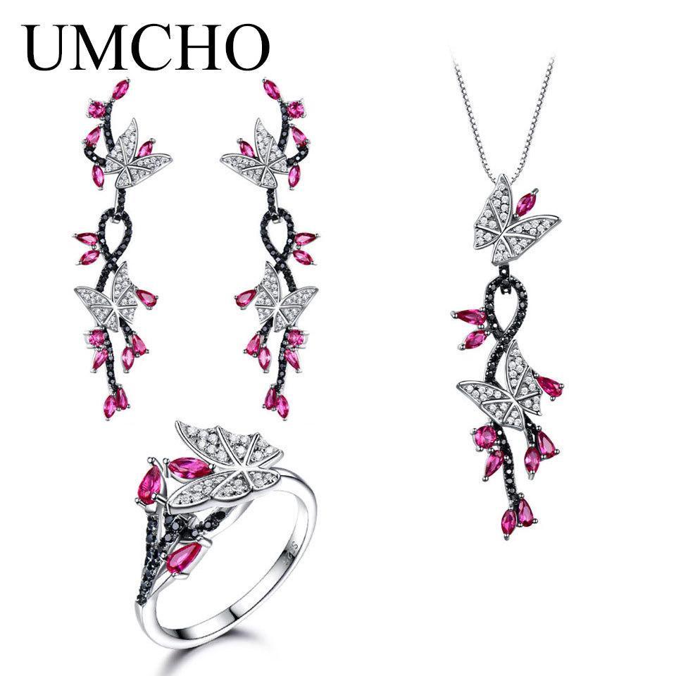 Umcho Düzenlendi Yakut Kelebek Takı Setleri 925 Ayar Gümüş Takı Zarif Kolye Yüzük Küpe Kadınlar Düğün Hediyeleri Için T190702