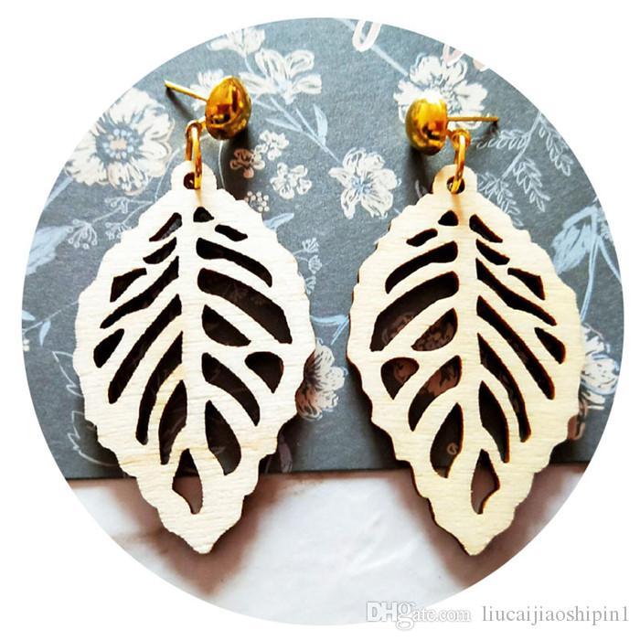 Europa und die Vereinigten Staaten Afrikanische handgemachte hölzerne gemalte Ohrringe weibliche nationale Windohrringe personalisierten Ohrschmuck