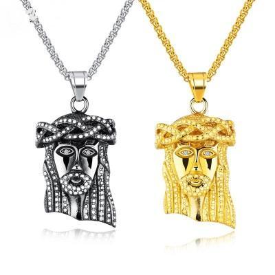 Accesorios de fundición de acero colgante collar de titanio joyería religiosa al por mayor de Jesús Cabeza colgante de los hombres de