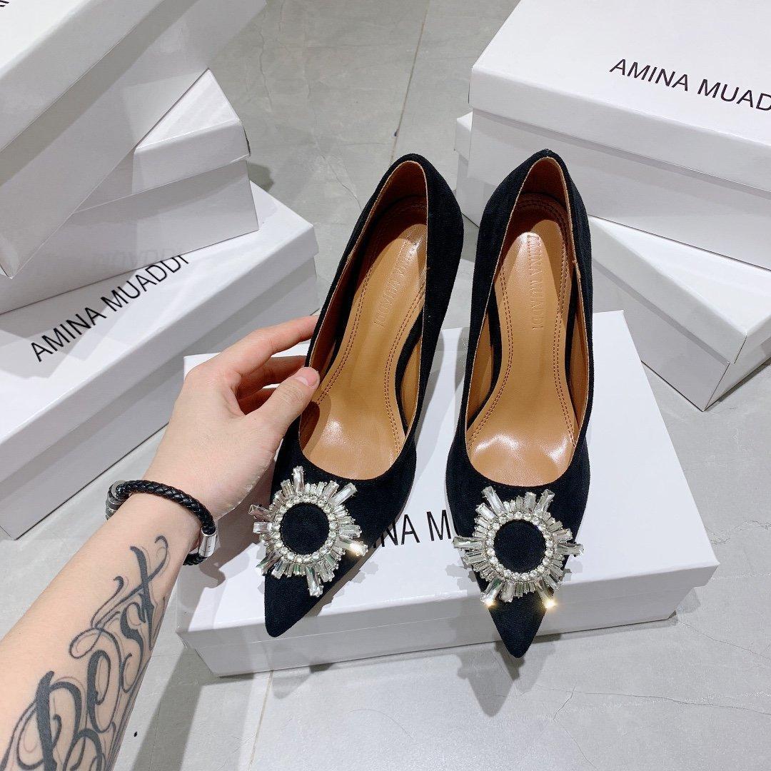 Nueva manera atractiva Chunky talón de la hebilla de la correa de punta estrecha bombas de las mujeres de Ladys de los altos talones de las sandalias de cuero 033006