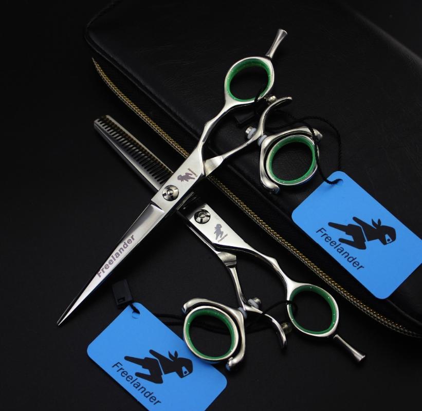 5.5 pulgadas herramientas 6.0 pulgadas Freelander gama alta de 360 grados mango para el cuidado del pelo tijeras de peluquería único tijeras de peluquería