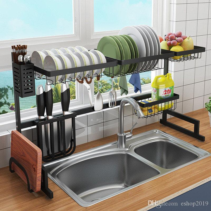 2020 Diy Black Stainless Steel Sink Drain Rack Kitchen Shelf Two Story Sink Racks Kitchen Organization Dish Rack Shelves 2 Sizes From Eshop2019 131 92 Dhgate Com